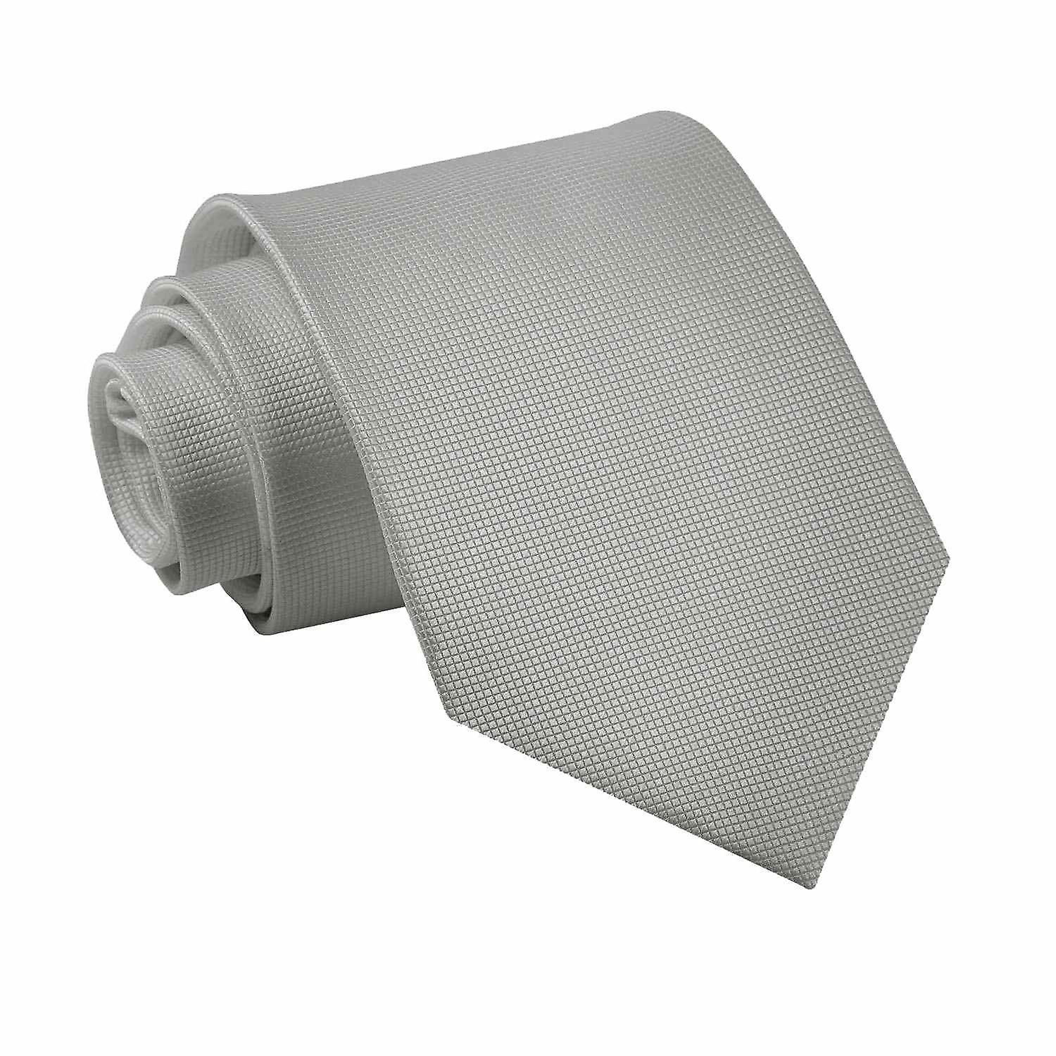 Solid Check Silver Tie