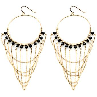 Lola Rose Boutique Collection Aviva Hoop Earrings in Black Agate