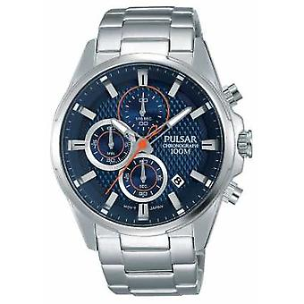 Pulsar Mens Chronograph Stainless Steel Blue Dial PM3059X1 Guarda