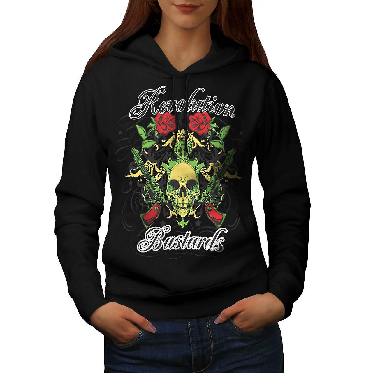 Revolution Bastards Roses Guns Women Black Hoodie | Wellcoda