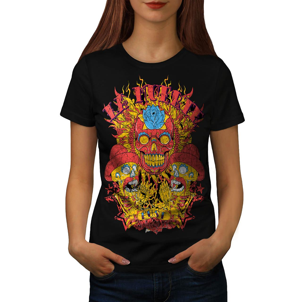 Muerte Lust Skull Hat Mexican Women Black T-shirt | Wellcoda