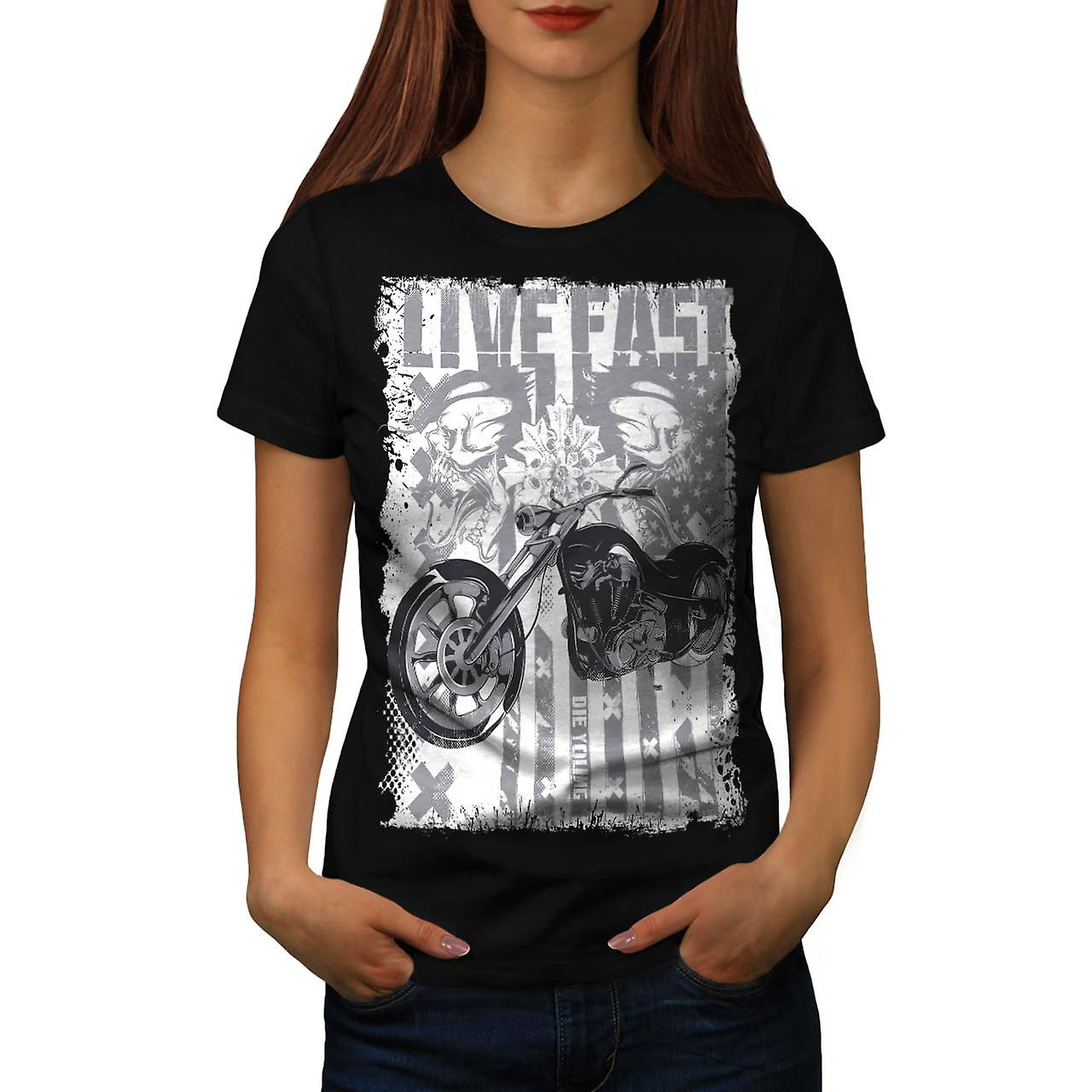 Live Fast USA Flag Biker Women Black T-shirt | Wellcoda
