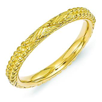2.5mm Sterling Silver Polished Stackable Expressions Gold-Flashed Patterned Ring - Ring Size: 5 to 10