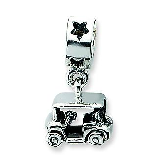 Sterling Silver Polished Antique finish Reflections Golf Cart Dangle Bead Charm