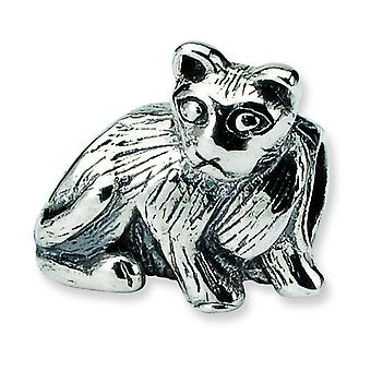 Sterling Silver Polished Antique finish Reflections SimStars Cat Bead Charm