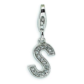 Sterling Silver Solid Rhodium-plated Not engraveable Fancy Lobster Closure Cubic Zirconia Letter S With Lobster Clasp Ch