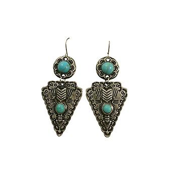 Cool silver boho warrior statement earrings