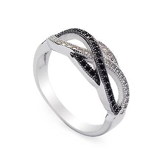 925 Sterling Silver Black And White Cubic Zirconia Ring