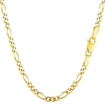14k Yellow Gold Classic Figaro Chain Necklace, 3.0mm