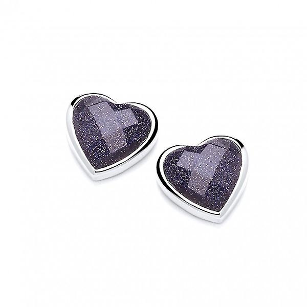 Cavendish French Silver Surround Blue Sandstone Heart Earrings