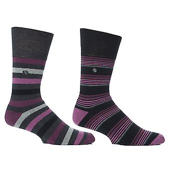 Mens Wine Stripe Cushion Foot Honeycombe Top Gentle Grip Sock By Sock Shop 2pk
