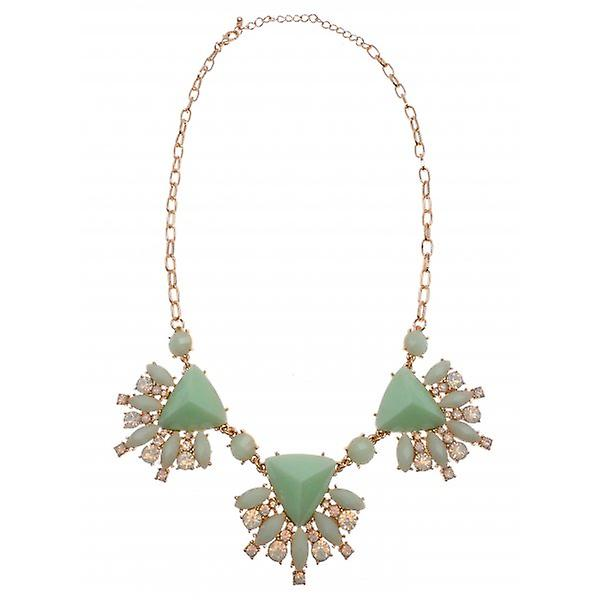 W.A.T Gold Style Pastel Green And Opal Statement Necklace