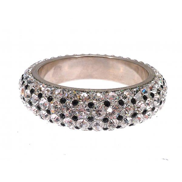 W.A.T Big Clear And Black Lux Sparkling Crystal Bangle