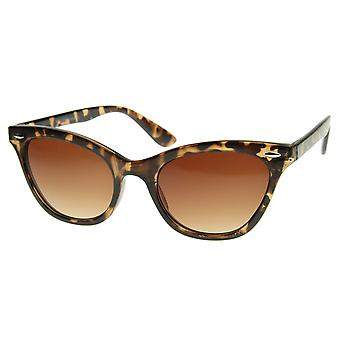 Small Pointed Rim Cat Eye Shaped Sunglasses with Rivets