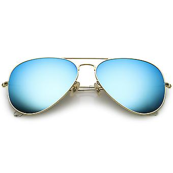 Premium Large Classic Matte Metal Aviator Sunglasses With Colored Mirror Glass Lens 61mm