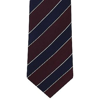 Michelsons London Block Stripe Silk Tie - Wein rot/Navy