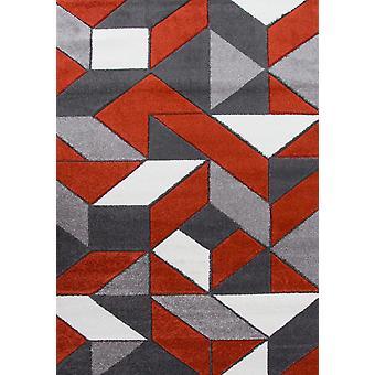 Terracotta & Grey Geometric Rugs - Rio
