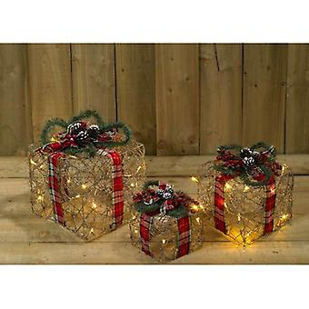 3 Pack Wicker and Tartan Battery Operated Gift Box (SW5) Room Decoration
