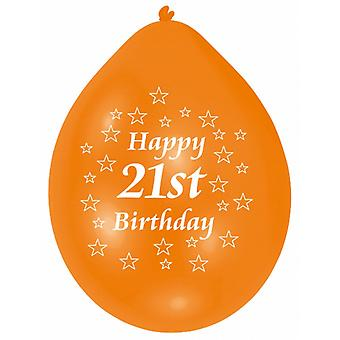 Amscan Happy 21st Birthday Multicoloured Party Balloons (Pack Of 10)