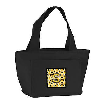 Lettera S calcio nero, oro vecchio e bianco Lunch Bag