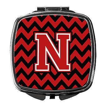 Carolines Treasures  CJ1047-NSCM Letter N Chevron Black and Red   Compact Mirror