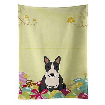 Easter Eggs Bull Terrier Black White Kitchen Towel