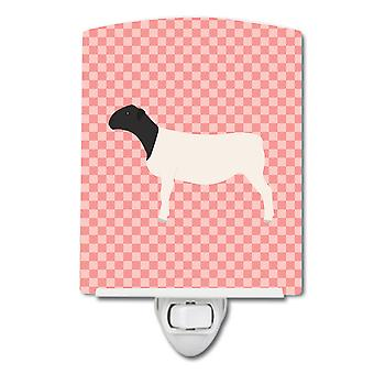 Carolines Treasures  BB7978CNL Dorper Sheep Pink Check Ceramic Night Light