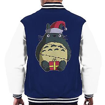 Jul min nabo Totoro Ho Ho Santa lue og presenterer menn Varsity jakke