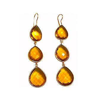 Gemshine - women's - gold plated earrings - 925 - 9 cm - citrine - Quartz - Yellow - Gold - CANDY - dripping-