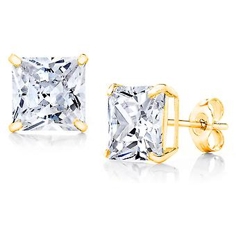 10k Yellow Gold Square CZ Stud Earring