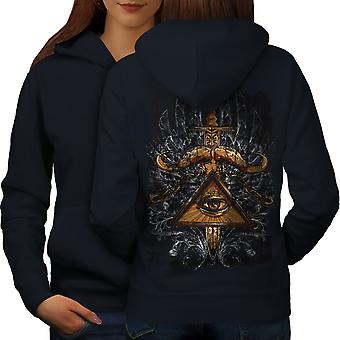 Triangle Society Women NavyHoodie Back | Wellcoda