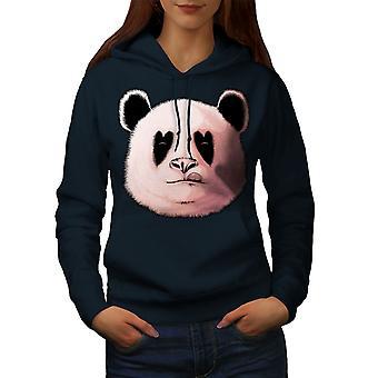 Panda Lick Hearth Animal Women NavyHoodie | Wellcoda