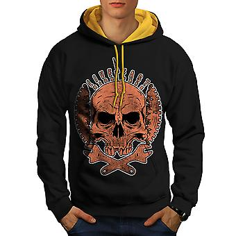 Living Life Biker Skull Men Black (Gold Hood)Contrast Hoodie | Wellcoda