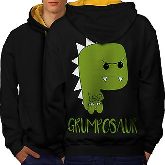 Grumpy Dinosaur Men Black (Gold Hood)Contrast Hoodie Back | Wellcoda