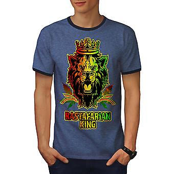 Lion Weed Stoner Rasta Men Heather Blue / NavyRinger T-shirt | Wellcoda