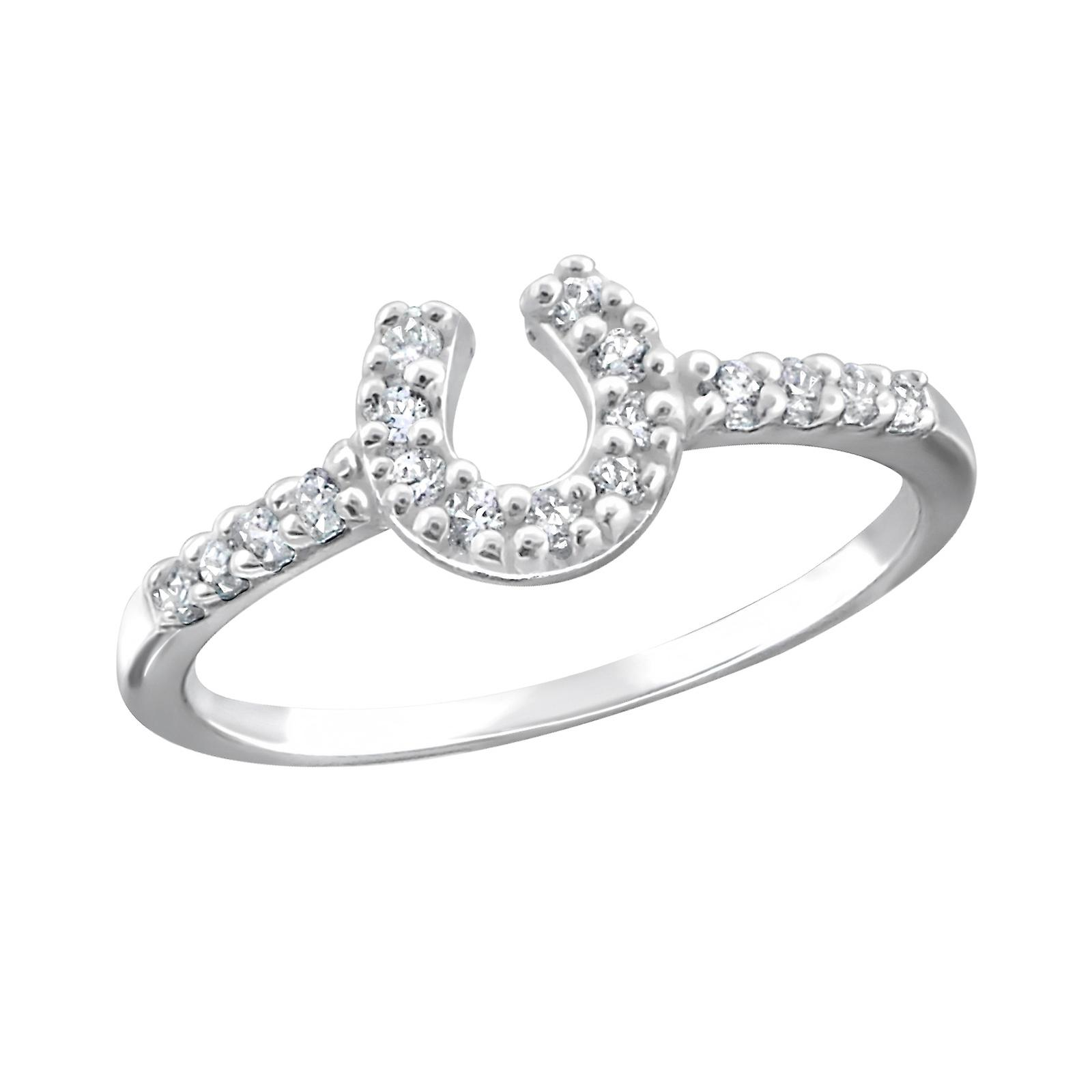 Horse shoe - 925 Jewelled Sterling Silver Jewelled 925 Rings a694aa