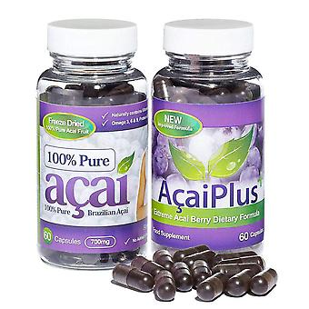 Acai Plus and Pure Acai Berry Combo Pack - 1 Month Supply - Acai Berry Combo Pack - Evolution Slimming