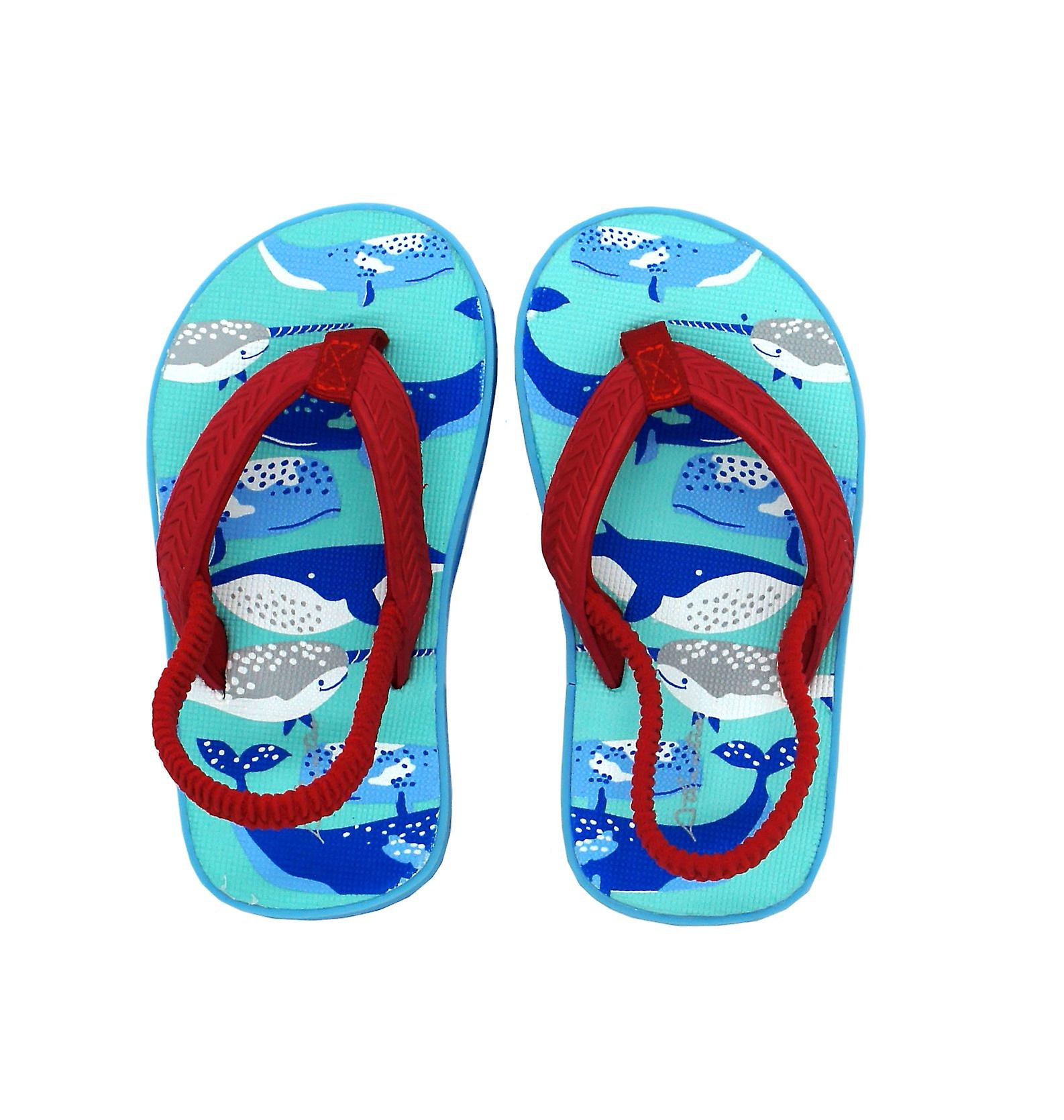 Atlantis Shoes Kids Unisex Girls & Boys Supportive Cushioned Comfortable Sandals Flip Flops Ocean Discovery Red