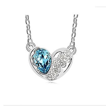 Love Heart Necklaces Blue�Silver CZ Crystal Chain Pendant