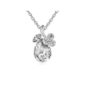 Womens Clear Diamante Flower Petal Teardrop Pendant Necklace