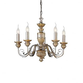 Ideal Lux Dora Antique 5 Arm Candle Light With Traditional Design Ceiling Pendant