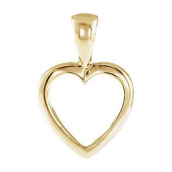 14k gelbes Gold Herz Anhänger - förmigen 1,4 Gramm