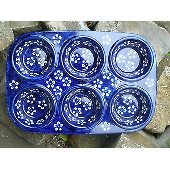 Baking pan, muffin dish approx. 32 x 22 x 4 cm, 6 trays, Bolesławiec blue, BSN J-2739