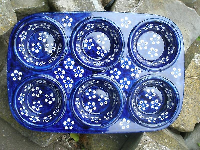 Backform, Muffinform ca. 32x22x4 cm, 6 Mulden, Bunzlau bleu, BSN J-2739