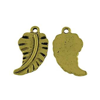 Packet 20 x Steampunk Antique Bronze Tibetan 20mm Feather Charm/Pendant ZX15105