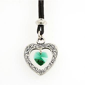 Handmade Celtic Heart May Emerald Crystal Birthstone Pewter Pendant