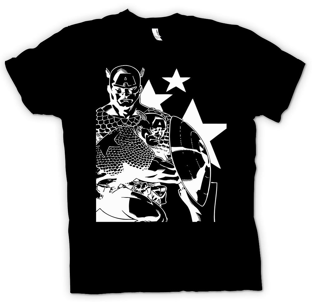 Mens T-shirt - Captain America With Shield - Superhero
