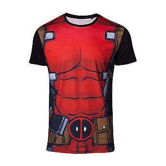 Marvel Comics Deadpool Mens Suit Sublimation T-Shirt Extra Large Multicolour