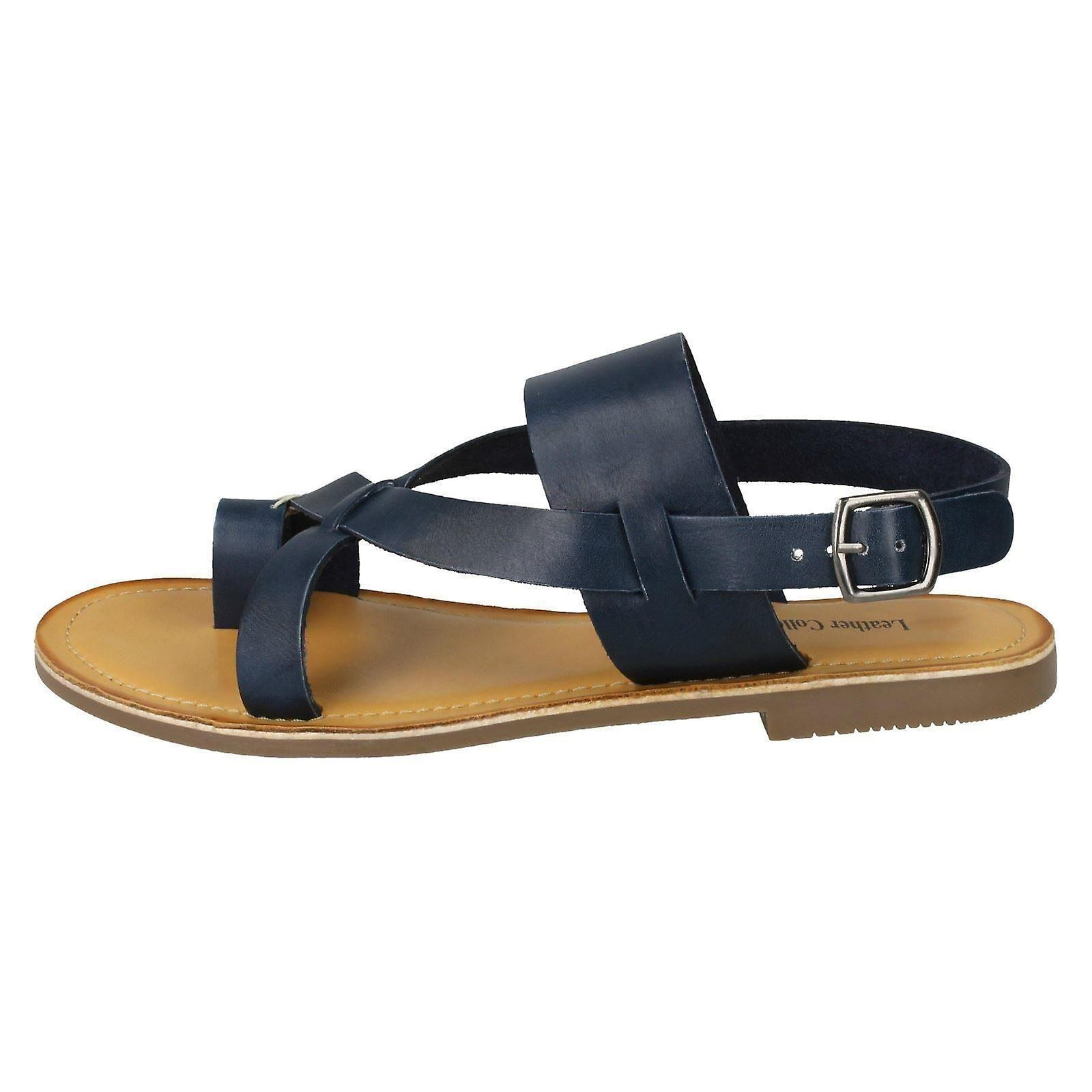 Collection 39 Sandals UK Size EU Size Navy Toeloop F00127 US 8 Size Leather 6 Ladies Leather 0pw7x5qq