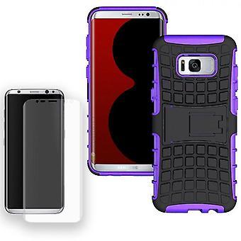 Hybrid Case Tasche 2teilig Lila für Samsung Galaxy S8 G950 G950F + Panzerfolie
